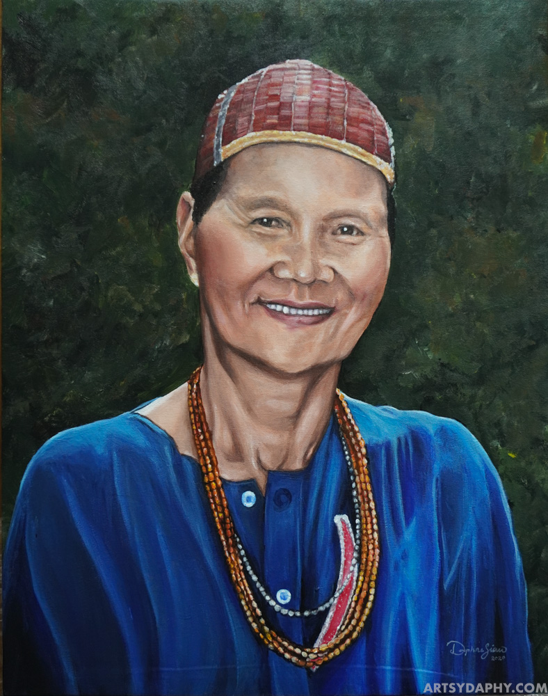 Canvas Portrait Painting of Woman in Kelabit Hat with Acrylic Paint